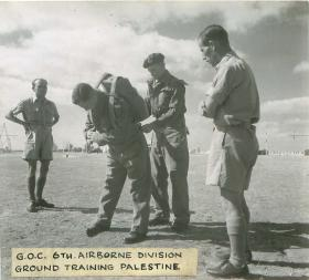 GOC 6th Airborne Division ground training in Palestine.