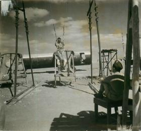 Soldier practises simulated parachute landing at Ramat David parachute school, Palestine 1947.