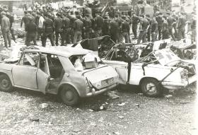 Cars damaged by the IRA bomb at Aldershot barracks in 1972.