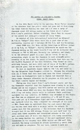 Account of the battle at Sheldon's Corner, Burma.