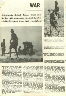 Magazine article looking at the British forces role in the Radfan operation of 1964