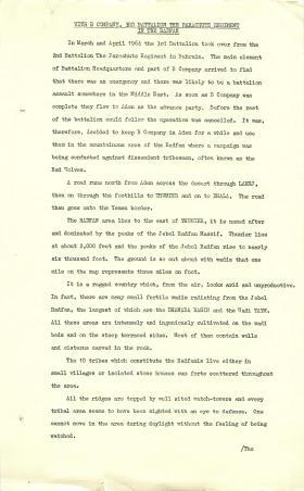 Report on 3 PARA action at Wadi Taym, Radfan 1964