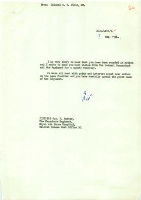 Example of letter from Col Flood to wounded members of 3 PARA in Radfan, 1964.