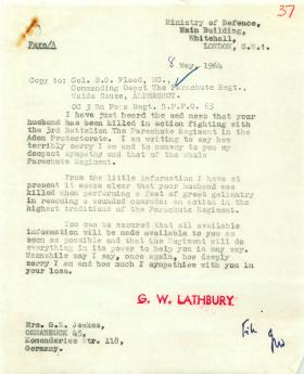 Condolence letter to the family of 'Barry' Jewkes, killed in Radfan, May 1964