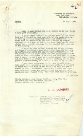 Correspondence relating to the late 'Barry' Jewkes of 3 PARA, Radfan 1964