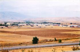 View showing Chinooks and field hospital, Macedonia.