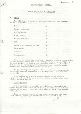 Medical report, Anguilla 1969.