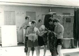 Five paratroopers attend to their laundry on camp, Hong Kong, 1980