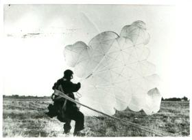 Early Russian paratrooper just after landing.