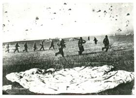 Russian paratroopers after landing.
