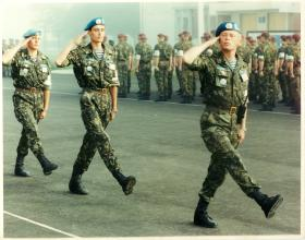 Men of Russian Airborne Forces salute while on parade.