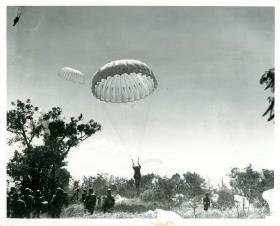 American paratroopers land on Corregidor during the invasion of the island, February 1945.