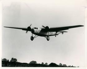 Bristol Bombay aircraft flying at low level.