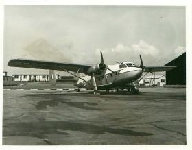 Prestwick Twin Pioneer on a runway.