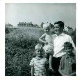 Stephen Prior and his two younger brothers with Ken Head.