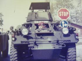Steve Thayer in a Ferret scout car, at Brook Barracks, Berlin, 1978