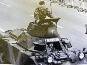 Paras in a Ferret scout car on Berlin Parade, 1978