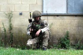 Cpl Moffitt, C Coy 4 PARA on Exercise Black Panther, Copehill Down OBUA Village, Salisbury Plain, July 2015.
