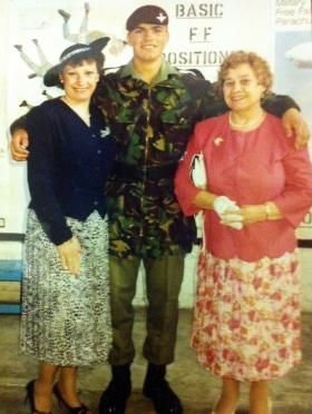 Private Harker after his Passing Out Parade 21 June 1991