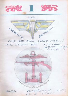 Sketch to commemorate attached personnel to 9th Para Bn on D-Day, 1944