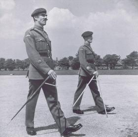 RSM JC Lord and CSM J Alcock on the square at Aldershot, 1947