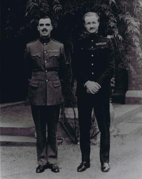 RSM JC Lord MBE and Lt Col Luard DSO outside Borossa Officers Mess, 1947