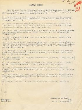 Orders relating to the wearing of battle dress in Stalag XIB, 1945
