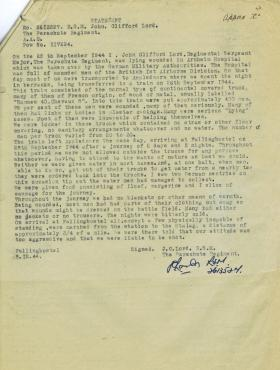 Statement by RSM Lord on journey from Appledoorn to Fallingbostel,  1944