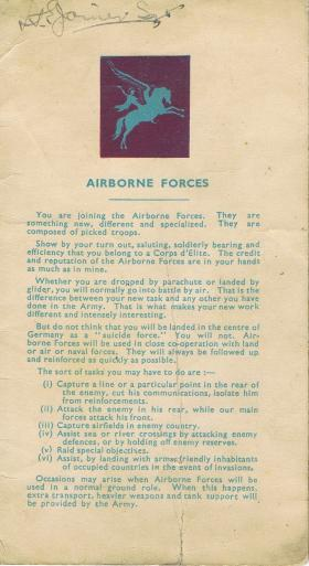 Pte Binghams Airborne Forces leaflet signed by new members, c.1945