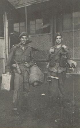 Lt Otway and Pte Bingham moving kit, c1945.
