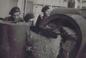 Three soldiers from the 13th Bn with Bren, c1945.