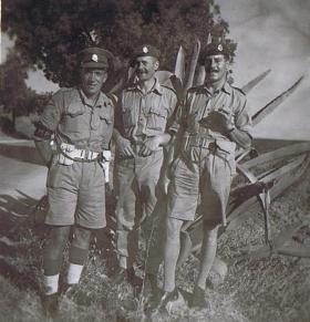 Sgt Whitehead, RSM G Thomas and Lt Gray, M'saken Sousse, 1943