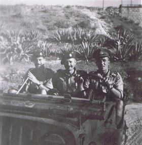 Lt Gray, RSM Thomas and Sgt Whitehead in a Jeep in Sousse, 1943
