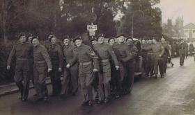 RSM WB Gray and his new wife are pulled by men of the 1 Airborne Div Provost Company, c.1942