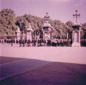 Band enter the gates of Buckingham Palace when 1 PARA performed Public Duties, 1969