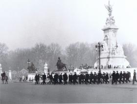 Band march passed fountain outside Buckingham Palace, followed by 1 PARA, 1969