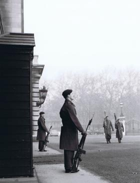Two Paras on guard as Colours are marched passed, 1 PARA Public Duties, 1969.
