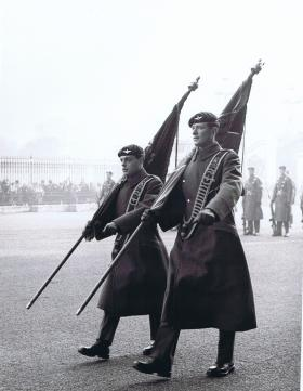 Colours being paraded at Buckingham Palace, 1 PARA Public Duties, 1969.