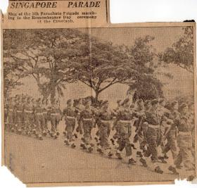 Newspaper cutting relating to Parade in Singapore, 1945