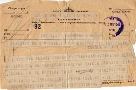 Telegram canceling death of Bernard Taylor, 1946
