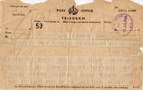 Telegram informing family of Taylors death, July 1946
