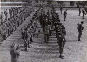 Taylor on Parade in Singapore with 7th (Light Infantry) Parachute Battalion, 1945
