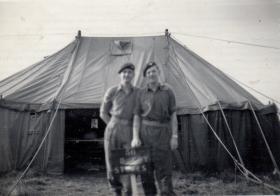 Two men outside D Coy stores, 11th Parachute Battalion, 1955