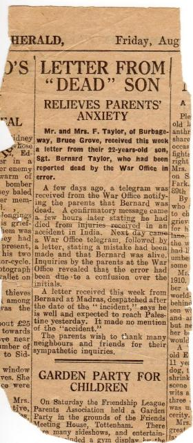 Newspaper clipping reporting Taylor to be alive and well, 1946
