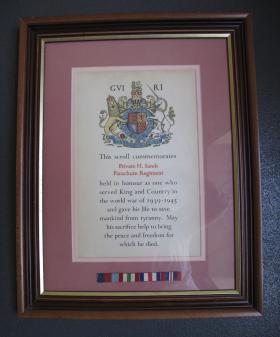 Scroll commemorating Pte Harold Sands