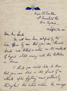 Letter of Condolence from OC B Coy to Mrs Sands, September 1944