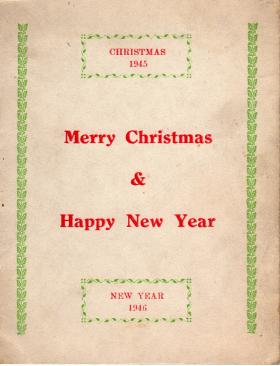 A Christmas Card sent home by Pte Kimber, 1945