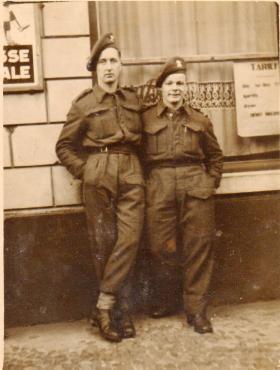 Pte Kimber with friend in Belgium, 1945