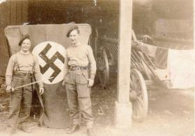 Pte Stanley Kimber with 'Curly' Bernard Littlechild in Wesel, 1945
