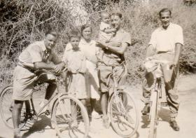 Pte Kimber with locals while cycling in Cyprus, circa 1946